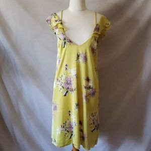 Cold shoulder yellow dress